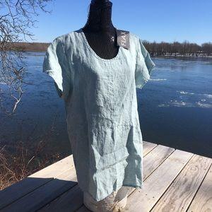 NWT Flax slate blue linen short sleeve tunic top